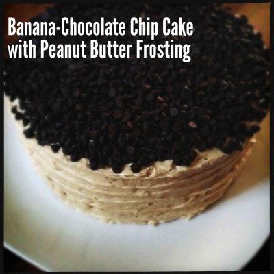 Banana Chocolate-Chip Cake with Peanut Butter Frosting |