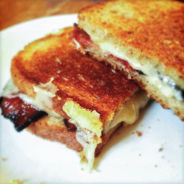 Grilled Gruyere and Black Forest Bacon