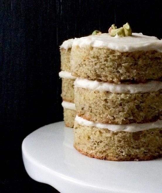 Pistachio Mini Cakes with Honey Cream Cheese Frosting