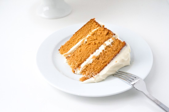 Pumpkin Cake with Bourbon Cream Cheese Frosting