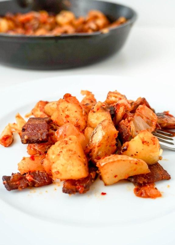 Kimchi Potato Hash with Bacon