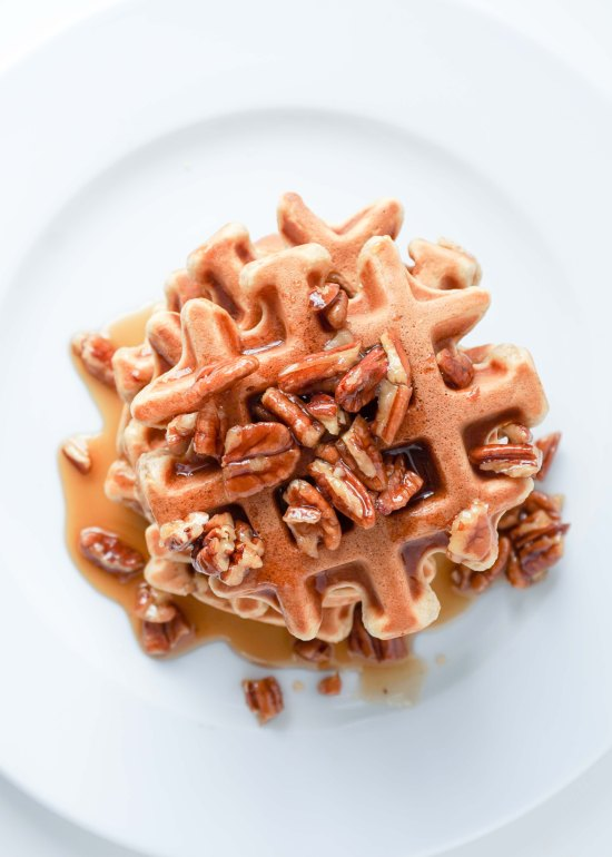Banana Waffles with Pecan Maple Syrup