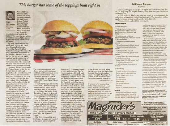Washington Post Tr-Pepper Burger Article