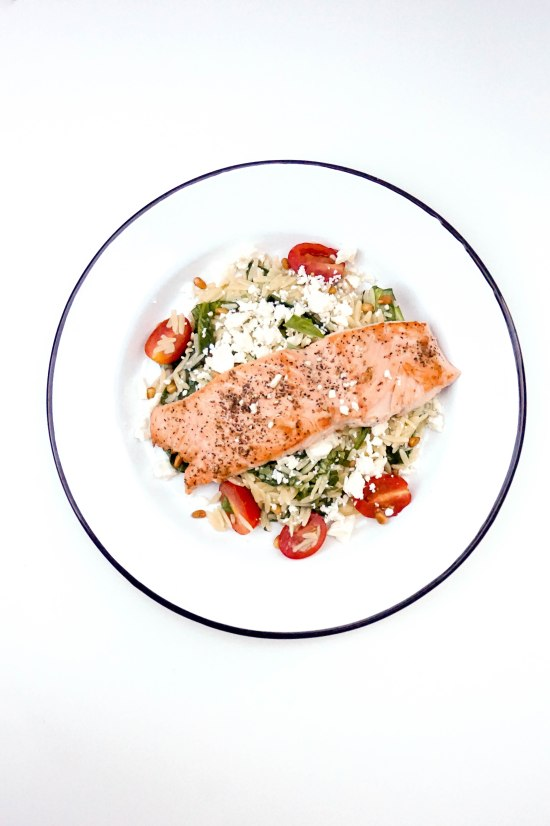 Sauteed Salmon with Orzo Feta and Red Wine Viniagrette