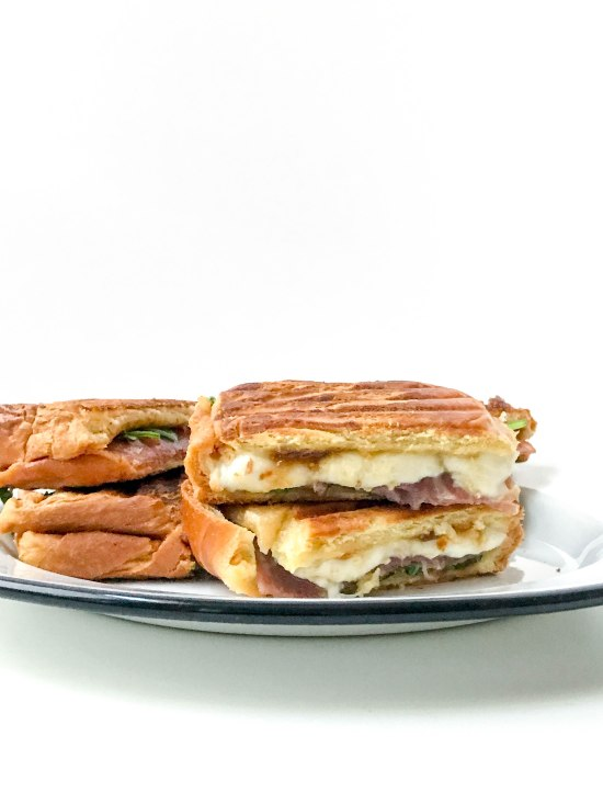 Prosciutto Mozzarella and Fig Panini