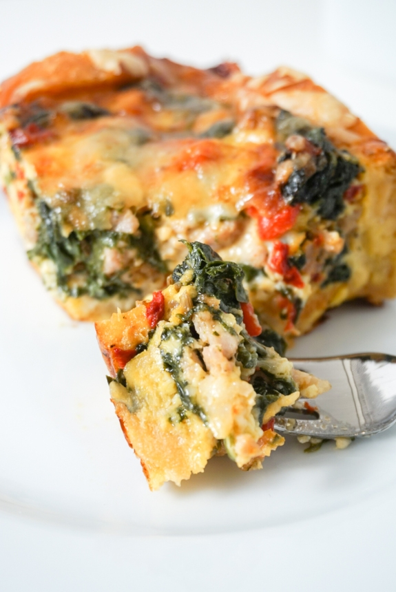 Sausage, Red Pepper, And Spinach Torta