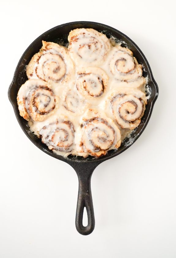 Skillet Biscuit Cinnamon Rolls