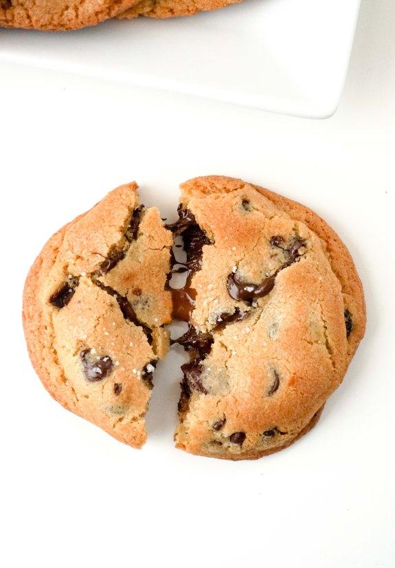 Caramel Stuffed Chocolate Chip Cookie