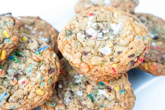 Chocolate Chunk Sprinkle Cookies with Sea Salt