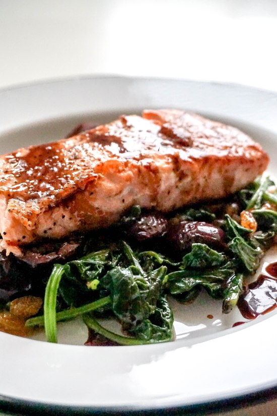 Balsamic Glazed Salmon with Spinach Olives and Golden Raisins